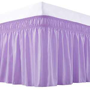 Vocander Wrap Around Bed Skirt, Lavender for Twin Size Beds, 15 Inch Drop Purple Dust Ruffles, Adjustable Elastic Bedskirt, Easy-Install Wrinkle & Fade Resistant