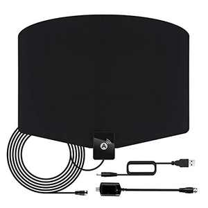 [2020 Latest] Indoor Digital TV Antenna 120+ Miles Long Range with Support 4K 1080p & All Older TV's Indoor Powerful HDTV Amplifier Signal Booster - Coax Cable