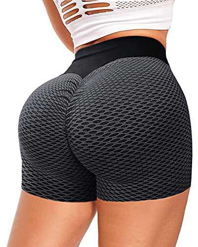 AIMILIA Women Tiktok Booty Shorts Butt Lifting High Waist Tummy Control Workout Running Gym Textured Ruched Shorts Black