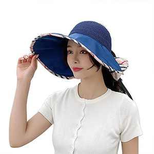 Ponytail Sun Visor Hat Floppy Wide Brim UV Protection Fishing Hat Foldable Summer Cap Outdoor Beach Hat Roll Brim Blue