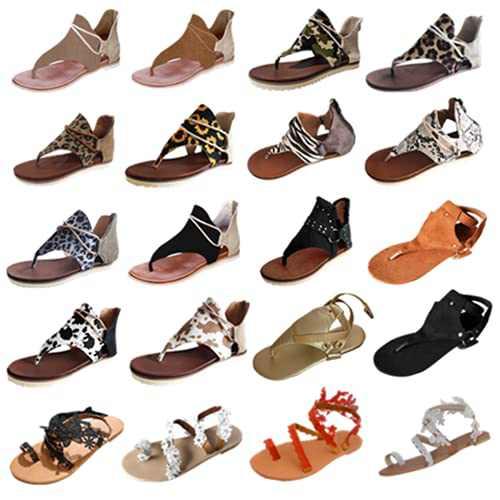 2021 Flats Sandals for Women Summer Casual Beach Open-Toe Back Zipper T-Strap Retro Bohemian Gladiator Sandals Flip Flops (008-Beige, 9)