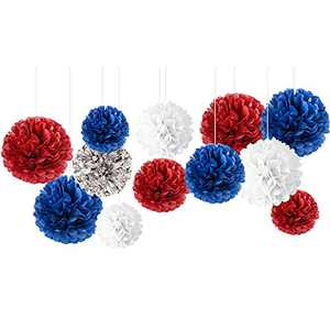 NICROLANDEE Patriotic Decorations - 12PCS Red White Blue Tissue Paper Pom Poms for Labor Day, Memorial Day, Veterans Day, Presidents' Day, American Theme Party, Holiday Decorations