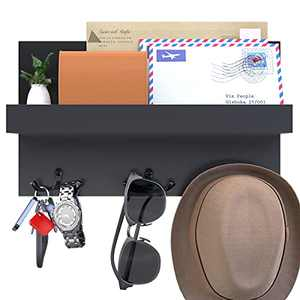 Grarry Acrylic Key Holder and Mail Shelf for Wall, Decorative Wall Organizer Rack with 3 Double Key Hooks, Mail Letters Bills Sorter Key Rack Perfect for Entryway, Kitchen Living Room, Mudroom (Black)