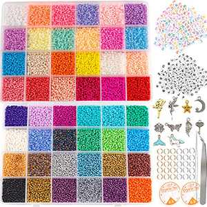 35000pcs 2mm 12/0 Glass Seed Beads for Jewelry Making Supplies Kit Small Bead Craft Set Bracelets Ring Necklace Making Kits Glass Seed Letter Alphabet Beads Charms Pendants DIY Art Craft Kit for Girls