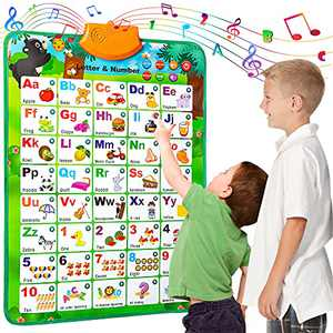 HahaGift Educational Toys for 2 3 4 Year Old Girls Gifts, Interactive Alphabet Wall Chart for Kids Age 2-4, ABC Learning Toys for Toddlers 1-3, Talking Poster for 2 3 4 Year Old Boy Birthday Gifts