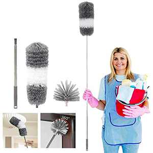 """Cobweb Duster for Cleaning, 100"""" Household Cleaning Extendable Duster, Wall Duster Cleaner with Long Handle, Ceiling Fan Microfiber Duster with Extension Pole, Blind Cleaner Duster, Fan Duster"""
