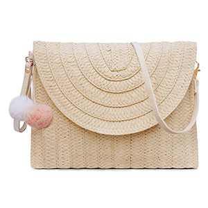Straw Shoulder Bag For Women Woven Purse Summer Beach Envelope Clutch Straws Wallet