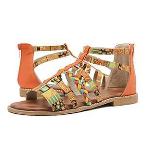 Women's Gladiator Sandals,Cute Flat Sandals, Summer Boho Flats Sandals for Women Dressy, Bohemian Strappy Flat Open Toe Ring Sandals,Wide Comfortable Leather bling gladiator sandals,Orange and Gold Gladiator sandals Orange size 7