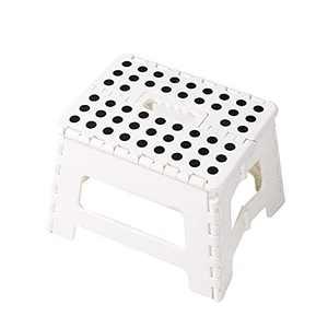 Folding Step Stool, 9 inch High Premium Heavy Duty Foldable Portable Stool, Kitchen Garden Bathroom RV, Stepping Stool, White