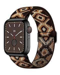AMANECER Stretchable Nylon Watch Bands Compatible with Apple Watch Series 6/5/4/3/2/1 SE, Adjustable Braided Pattern Sport Loop Bands for iWatch Women Men (Boho/Bohemian Brown, 42MM/44MM)