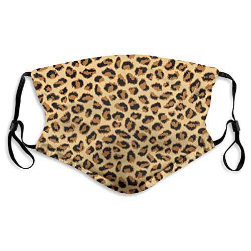 For Men Women Protective Balaclava with 2 Filter Washable Reusable Adjustable Face Mask Elastic Strap Leopard Print