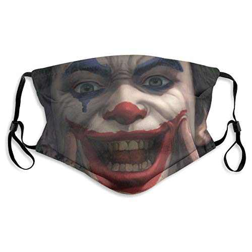 For Men Women Protective Balaclava with 2 Filter Washable Reusable Adjustable Face Mask Elastic Strap Joker Smile Black