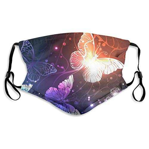 For Men Women Protective Balaclava with 2 Filter Washable Reusable Adjustable Face Mask Elastic Strap Purple Glitter Butterfly and Moths