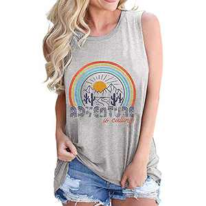 T&Twenties Women Adventure is Calling Shirts Tank Tops Summer Let's Get Lost Graphic Letters Print Tees Shirts Grey
