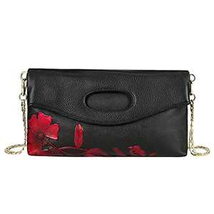 WILD WORLD Leather Hobo Handbag Embossed Wristlet Clutch Cute Purse Tote for Women (Sea Orchid Red)