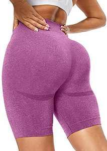 BURUNST High Waist Shorts Butt Lifting Yoga Shorts for Women Ruched Running Booty Shorts Drawstring (W-Pink, Medium)