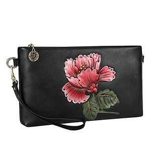 WILD WORLD Leather Wristlet Purse Cute Black Clutch Fashion Handbag for Women (Cotton Rose Red)