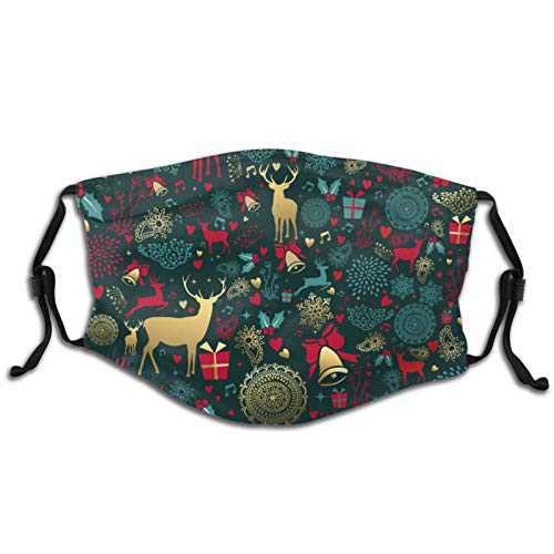 Merry Christmas Golden Deer Vintage Reusable Kids Childern Boy Girl Face Mask Washable with 2 FiltersAdjustable Made in USA