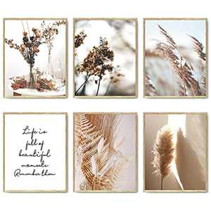 """Nature Wall Art Prints Set of 6 Canvas Art Wall Decor Botanical Print Pictures Reed Dried Flower Plant Poster Print Home Decorations for Living Room Wall Decor (8""""x10"""" UNFRAMED)"""