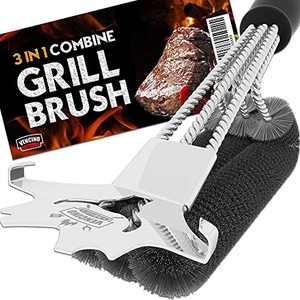 Vencino Grill Brush - 18-Inch Universal BBQ Combine Scraper, Brush & Grate Lifter - Made for Gas, Charcoal, Porcelain or Infrared BBQ Grills - Heavy-Duty Stainless Steel Bristles & Wires, No Shedding