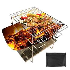 OUTHIKER Collapsible Campfire Grill Camping Fire Pit Barbecue Portable Outdoor Fire Pit Lightweight Duty Portable Camping Grill with Carrying Bag Fire Stick