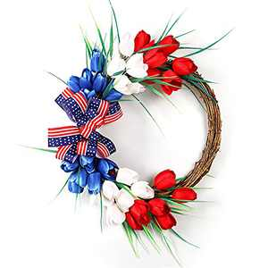 Souarts Independence Day Wreath, Front Door America Flag Patriotic Tulip Wreath for Indoor Outdoor, Home Office Wall Holiday Independence Day American Flag Wreath Decor