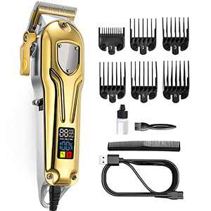 Hair Clippers for Men Cord Cordless Hair Trimmer Beard Trimmer,Hair cutting Kit for Home and Barbers-LED Display,Gold