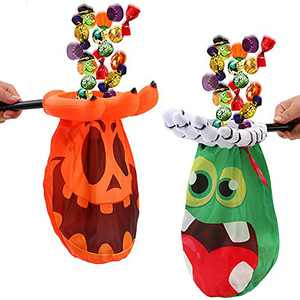 CCINEE Halloween Trick or Treat Bag,Jack-O-Lantern Monster Claw Candy Pouch for Kids Halloween Party Favor Supply,Pack of 2