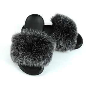 Women's Cute Fuzzy Faux Fur Slippers, Girls Open Toe Furry Slides House Slippers, Soft Summer Fluffy Sandals, Comfort Flip Flop Flat Soles for Indoor, Outdoor (Black gray, 7-8, numeric_7_point_5)