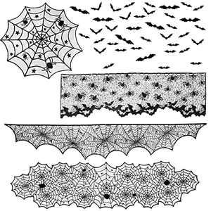 CCINEE 124PCS Halloween Decoration Set,Spider Web Table Runner Round Cloth Fireplace Mantle Scarf Black Lace Lampshades Bat Wall Sticker Decor for Halloween Party Supply