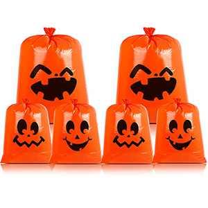 CCINEE Pumpkin Lawn Bag,Halloween Leaf Bag Jack-O-Lantern Fall Trash Bag with Twist Tie for Outdoor Decoration,Pack of 6