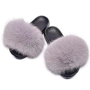 Women's Cute Fuzzy Faux Fur Slippers, Girls Open Toe Furry Slides House Slippers, Soft Summer Fluffy Sandals, Comfort Flip Flop Flat Soles for Indoor, Outdoor (Light grey, 10-11, numeric_10_point_5)