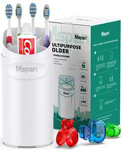 Mspan Toothbrush Holder for Bathroom Counter: Toothbrush Toothpaste Organizer Bath Accessories Caddy Set Countertop Storage Stand Plastic Cup White
