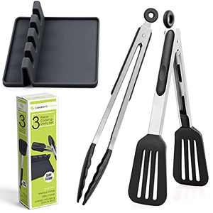 3 Piece Silicone and Stainless Steel Utensil 12' Cooking and Grilling Tongs with Spoon Rest. Stay Cool Handle with Sure Fit Grip , ECO Friendly, Easy to Clean, Heat Resistant