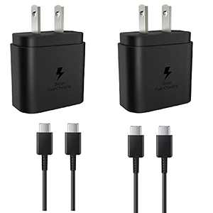 Super Fast Charger Block| 2 Pack |Type C 25W Wall Charger + USB C to USB C Fast Charging Cable for Samsung Galaxy S21 charger/S21+/S21 Ultra/S20/S20+/S20 Ultra/Note 20/Note 20 Ultra/Note 10/Note10