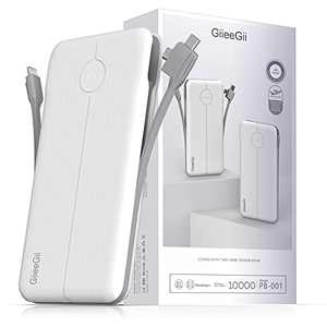 Portable Charger with Built in Cable, GiieeGii Cell Phone Battery Backup 10000mAh Output Power Banks, with The 3 Cable Port and USB Output Charger Compatible with iPhone Android Smartphones