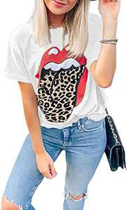 Women Funny Red Lip Leopard Distressed Print Tongue Graphic T-Shirt Summer Trendy Short Sleeve Crewneck Tee Tops