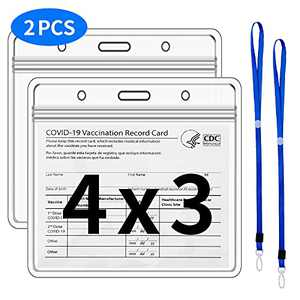 2 Pack CDC Vaccination Card Protector Waterproof 4 X 3 in, Immunization Record Vaccine Horizontal ID Card/Name Tag/Badge Vaccine Cards Holder, PVC Sleeve CDC Vaccine Card Protector w 2 Lanyard