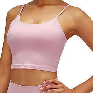 kerfac Yoga Removable Padded Sports Bra Workout Fitness Running Crop Tank Top for Women-Pink-Small