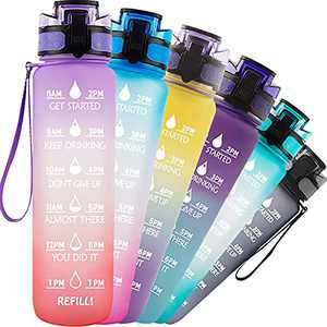 TACGEA Water Bottle 32oz, Motivational Sports Water Bottle with Time Marker to Drink, BPA Free and Leakproof, for Outdoor Fitness Sports and Office, Purple Orange
