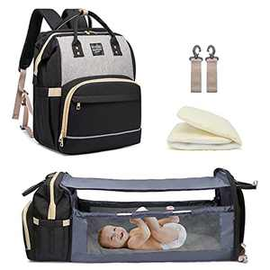 Diaper Bag Backpack with Travel Bassinet,Detachable Foldable Baby Bed for Bady Toddler, 3 in 1 Nappy Bag Changing Station, Travel Baby Bag with Crib,Shade Cloth,Mattress