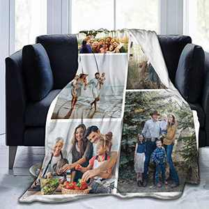 """Custom Photo Throw Blanket Big Customized Personalized with Picture Upload Blankets for Women Birthday Halloween Mothers Fathers Day New Year Gift Picture-5 80""""x60"""""""