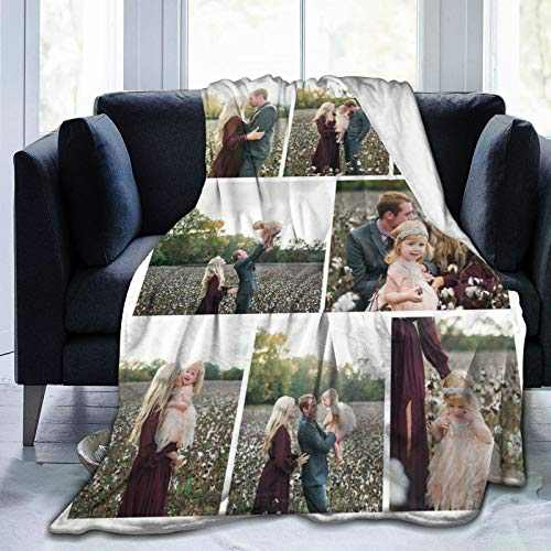 """Custom Photo Throw Blanket Big Customized Personalized with Picture Upload Blankets for Women Birthday Halloween Mothers Fathers Day New Year Gift Picture-8 50""""x40"""""""
