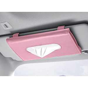 Hewheat Car Tissue Holder, Car Visor Tissue Holder, Car PU Leather Tissue Case Holder for Sun Visor & Seat Back with Tissue Refill,Vehicle(Pink)