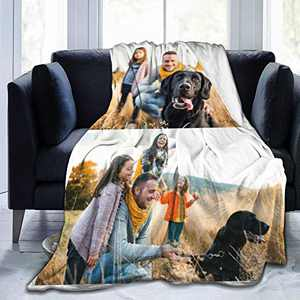 """Custom Photo Throw Blanket Big Customized Personalized with Picture Upload Blankets for Adult Kid Birthday Christmas Halloween New Year Mothers Fathers Valentines Gift Picture-2 60""""x50"""""""