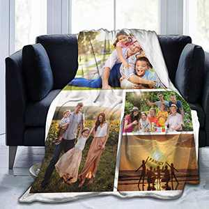 """Custom Photo Throw Blanket Big Customized Personalized with Picture Upload Blankets for Women Birthday Friend Best Wedding Family Picture-4 60""""x50"""""""