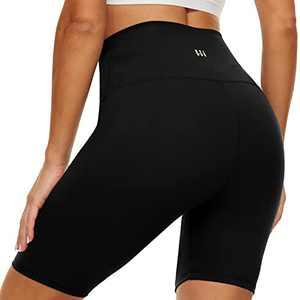 "HIGHDAYS 8"" High Waisted Biker Shorts for Women – Black Tummy Control Workout Athletic Yoga Summer Shorts"