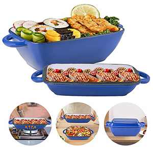 2 in 1 Enameled Cast Iron Skillet, 3.5in Deep Casserole Baking Pan for Oven/Stoves/Grill, 11in Rectangle Cast Iron Pan with Lid/Handles/Non Stick Coating