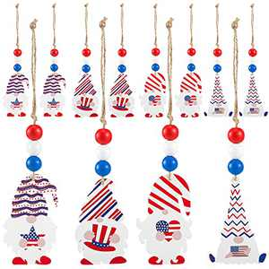 12 Pack Independence Day Wooden Gnome Hanging Ornaments- Hangable 4th of July Faceless Doll Wood Pendants with Stars& Stripes Pattern Patriotic American Themed Party Favors for Home Window Wall Decors