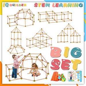 BANLEIYU Fort Building Kit for Kids Toys, 87pcs Forts Construction Builder Gift Toys for 3 Year Old Boys and Girls Over, Building Set Kids Tent Rocket Castle Indoor Outdoor
